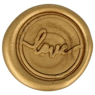 10 Sceaux de cire à coller dorés Love...