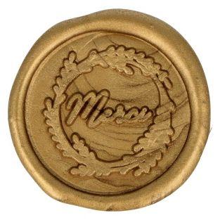 5 adhesive golden wax seals 40 mm -...