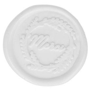 5 adhesive white wax seals 30 mm - Merci