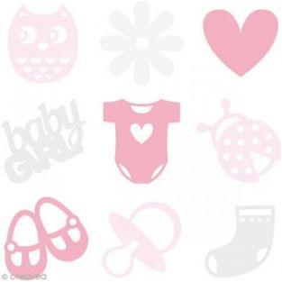 Formas de fieltro rosa - Niña recién...
