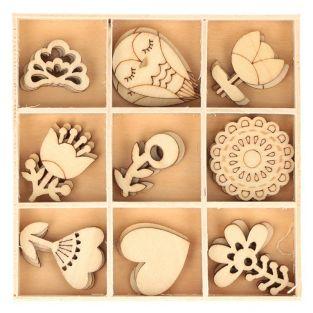 27 Mini-Holzdekorationen - Eule & Blumen