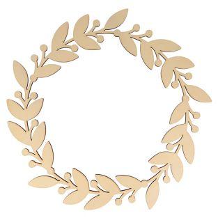 Wooden wall wreath Ø 35 cm - Leaves &...