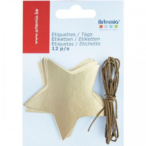 12 golden stars tags