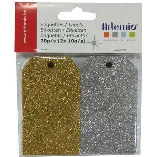 20 étiquettes à paillettes dorées & argentées
