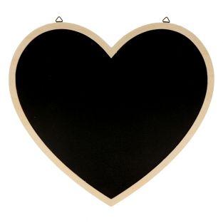 Lavagna nera cuore con bordo in legno...