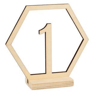 15 sechseckige Holznummern für...