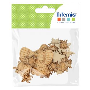 35 mini wooden decorations - Insects