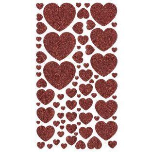 Stickers coeurs à paillettes rouges