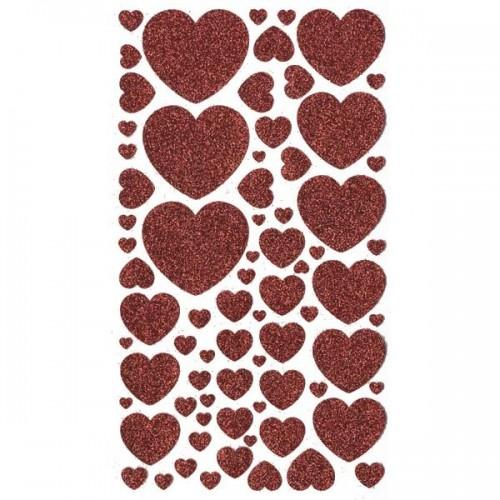 Glitter Hearts stickers - Red