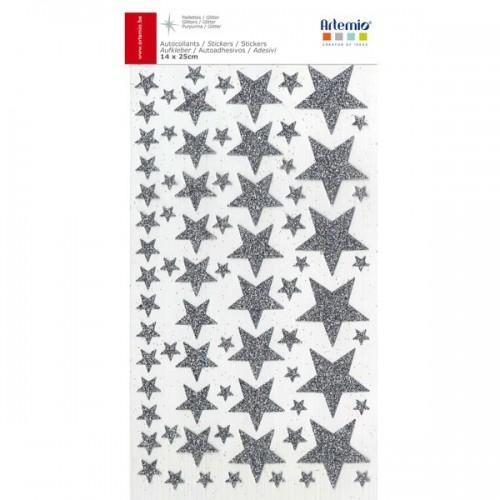 Pegatinas estrellas con brillo - Plateado