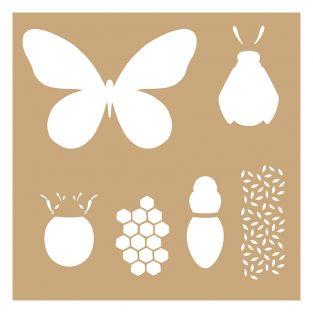 2 plantillas Kraft 20 x 20 cm - Insectos