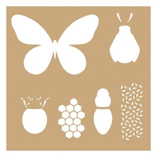 2 pochoirs Kraft Insectes 20 x 20 cm