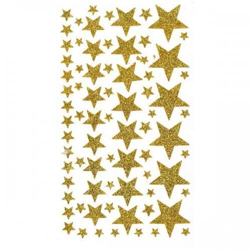 Stickers étoiles à paillettes dorées