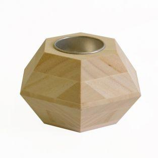 Bougeoir en bois - Hexagone