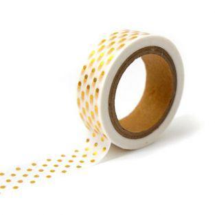 Masking tape blanc à pois dorés