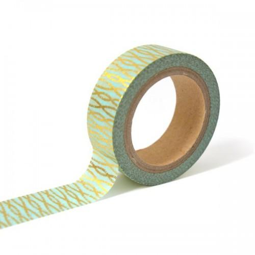 Masking tape bleu avec fils entrelacés dorés
