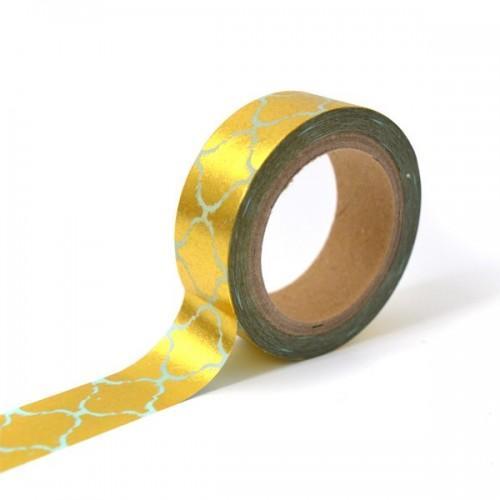 Masking tape bleu avec frise orientale dorée