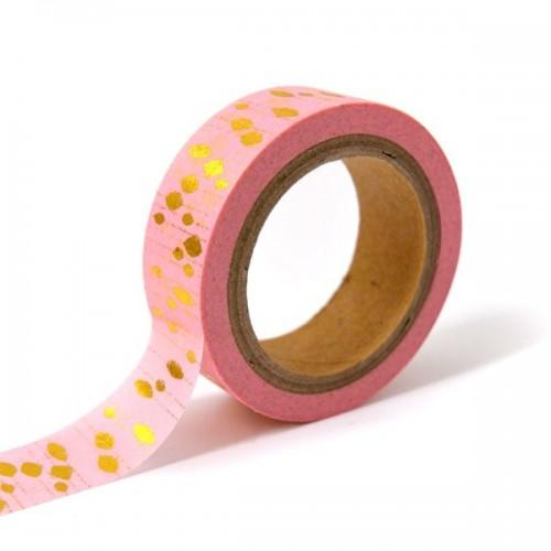 Masking tape rose avec pampilles dorés