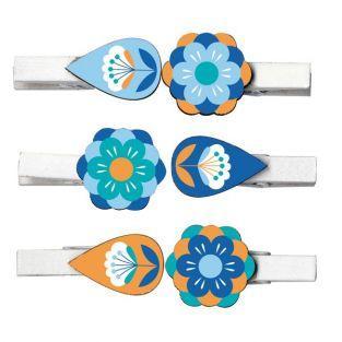 Mini pinces à linge motifs floraux