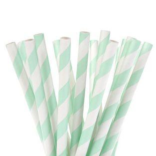 Pailles à Cake Pops x 20 - blanches à rayures vertes