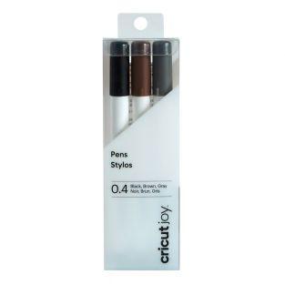 3 stylos à pointe fine noir, marron...