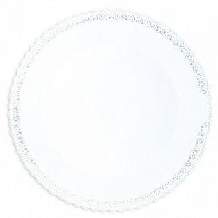 Bandeja de encaje redonda Ø 32 cm - blanca