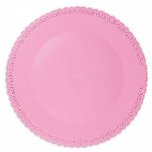 Round lace plate Ø 32 cm - pink