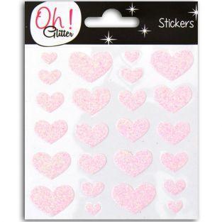 Stickers coeurs à paillettes - rose
