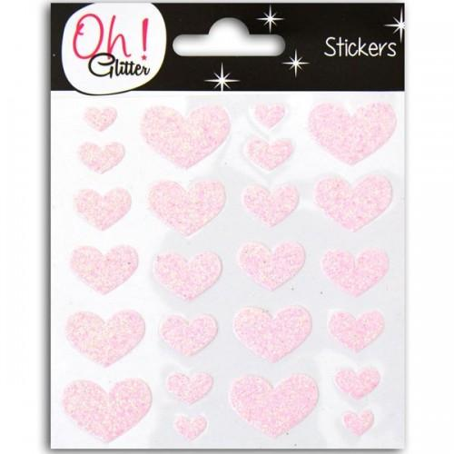 Glitter hearts Stickers - pink