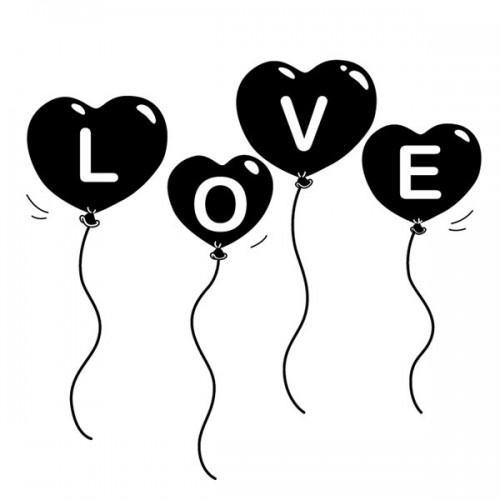Tampon bois - Ballons love