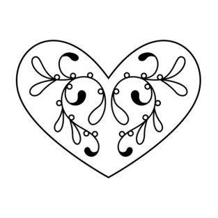 Tampon bois - Coeur à motifs floraux