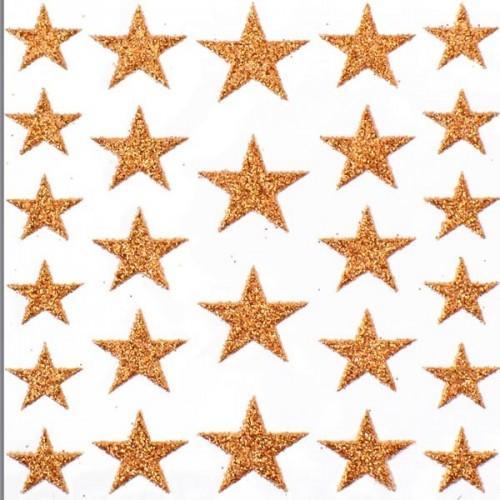 Stickers étoiles à paillettes - cuivre