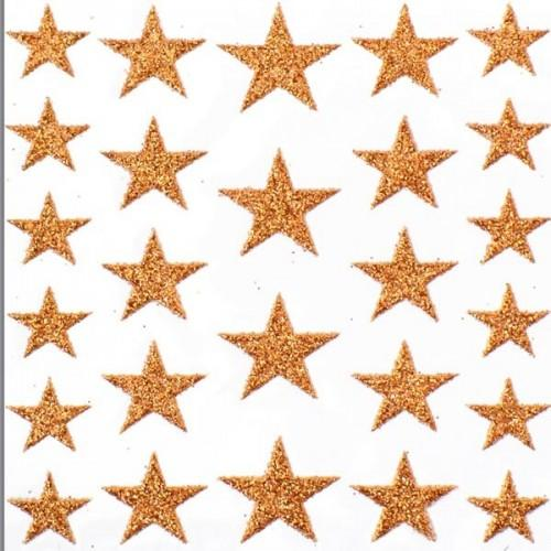 Glitter stars Stickers - copper