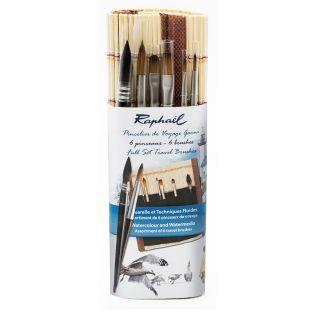 Set of 6 mini bamboo watercolour brushes