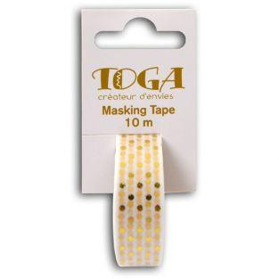 Masking tape - white with golden dots