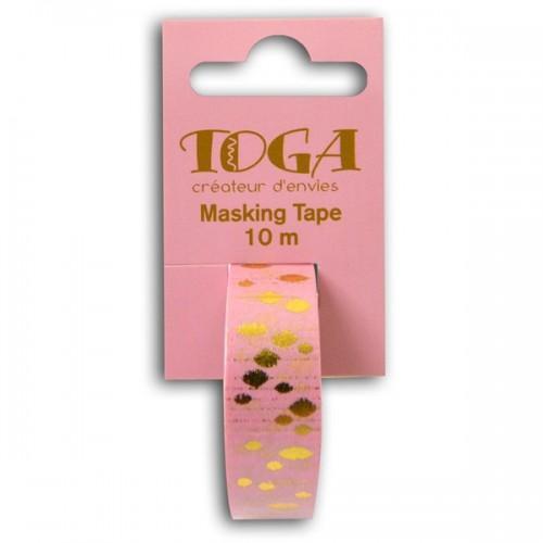 Masking tape rosa con manchas doradas