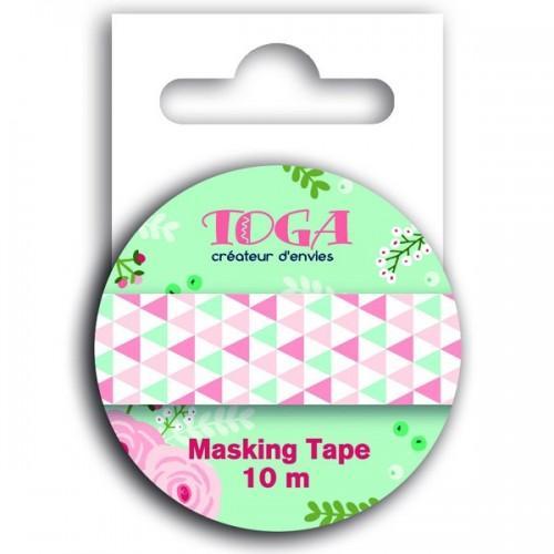 Masking tape triangles verts et rose