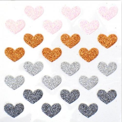 Stickers coeurs à paillettes - rose-cuivre-argent-gris