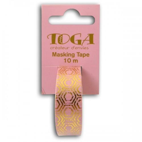 Masking tape rosa con hexágonos dorados