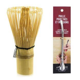 Fouet à thé Matcha en bambou + paille...