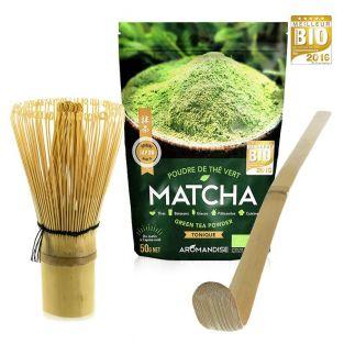 Matcha tea set + whisk + bamboo spoon