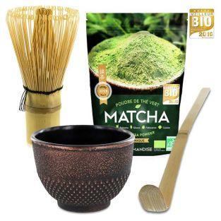 Té orgánico Matcha + batidor +...