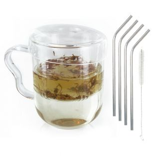 Taza de té con asa, tapa y infusor...