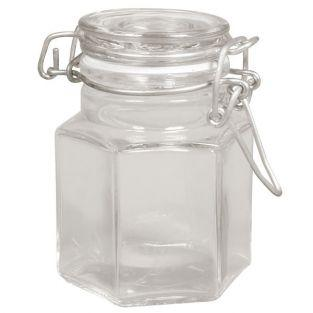 Jar with hinged lid - hexagon shape