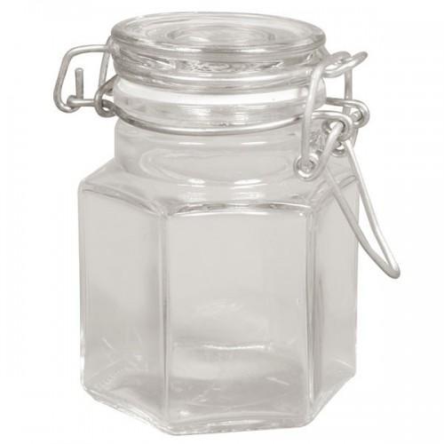 Jar with hinged lid - hexagon shape