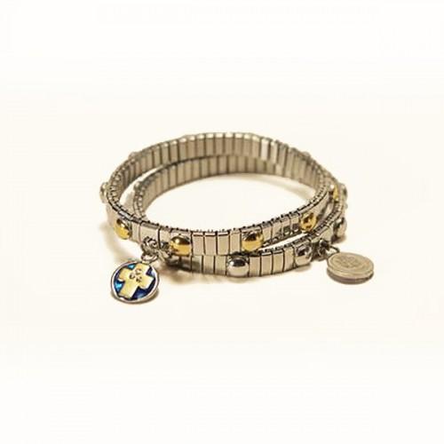 Dizainier bracelet with silver medal & links