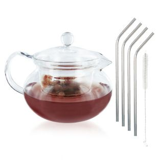 Glass Teapot 45 cl + 4 stainless...