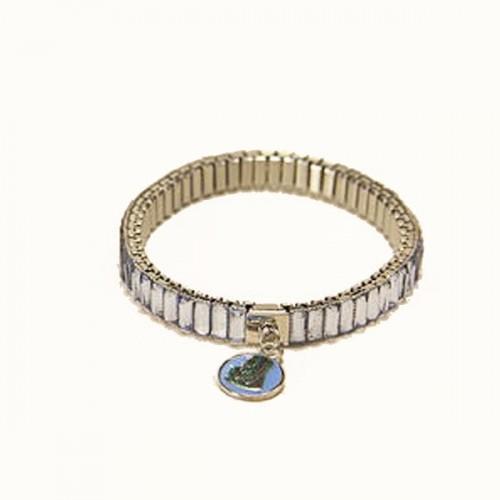 Metal bracelet with blue links