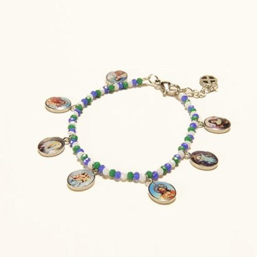 Bracelet with blue-green-white pearls & 7 medals