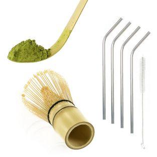 2 utensili da tè matcha in bambù + 4...